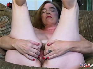USAwives fur covered grandmother Pusssy ravaged With fuck-a-thon toy