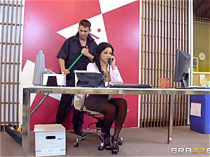 Mary Jean plumbs the office cleaner on the floor