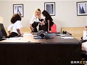 Interviewee gets gangbanged by Anya Ivy and friends