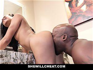 SheWillCheat - cheating wifey humps big black cock in bathroom