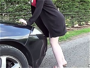 redhead slut penetrates man with car