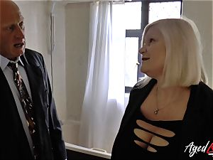 AgedLovE Lacey Starr smashed stiff with Sales Agent