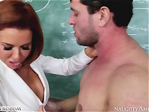 A married man drills his son's schoolteacher at college