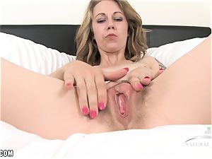 Izzy uses a vibrator to spunk rock hard