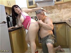 My chesty German stepmom naked on stage