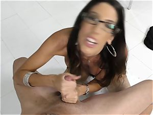 Dava Foxx talking filthy while using her hands on a sausage