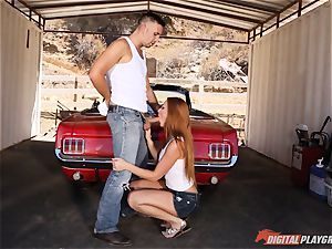 handsome red-haired Farrah Flower pummeled up against a car