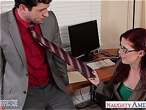 redhead sweetheart in glasses Penny Pax pulverize in the office