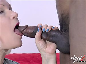 AgedLovE Lacey Starr and dark-hued dude gonzo