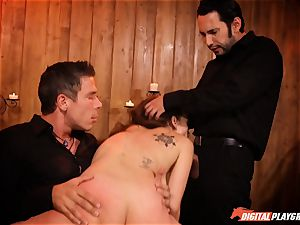 insatiable Jade Nile in cangue getting caned