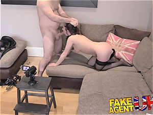 faux Agent UK Interviewee yam-sized bootie butt-plug and rigid assfuck