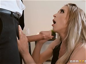 Aiden Ashley slobbering on a ample chisel
