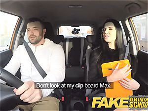fake Driving college Jasmine Jae completely naked romp in car