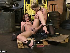 Andy chocolate-colored and Kathia Nobili toying with fuck stick