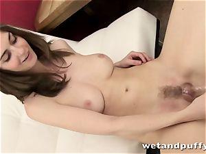 slim cutie Charlotte teasing her sleek pussy
