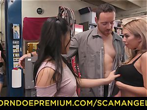 SCAM ANGELS - Blackmail three-way hook-up with insatiable honies