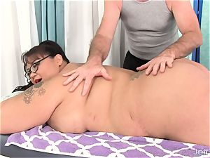gigantic breasted chinese plumper Miss Lingling gets a hump massage