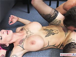 chesty perv doll with humungous cupcakes gets pounded on the office desk