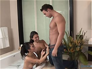 Asa Akira enjoys hard-core massage romp in three way