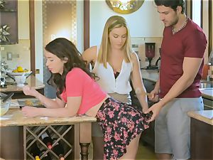Upside down fuckbox nailing Natasha uber-cute and Joseline Kelly in the kitchen