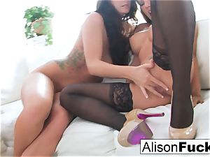 3-Way lesbians On milky couch