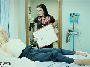 Girlsway Nurse Joanna Angel rectally probes teenage Patient