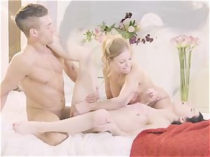 Britney Amber and Sadie Blake deepthroat draped Xander