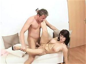 luscious Kristi love jams a hard man sausage down her hatch