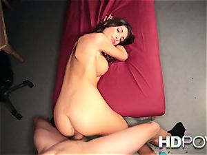 HD pov super-fucking-hot black-haired with gigantic boobies likes to juggle rod