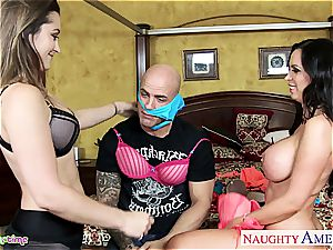 mischievous Nikki Benz and Dani Daniels please dong together