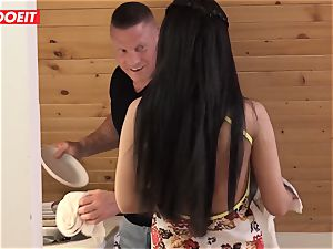 Step parent helps daughter-in-law clean his jizz instead of room