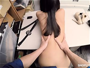 fantastic shoplifter getting pumped in the back room