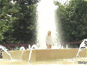ash-blonde made to bath in public stream