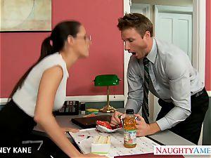 Office honey in glasses Kortney Kane screwing