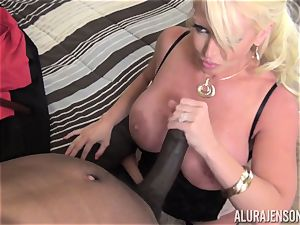 nasty Alura Jenson gets a gigantic dark-hued trunk jammed in her taut coochie