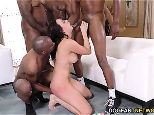 multiracial group sex and double penetration with Chanel Preston