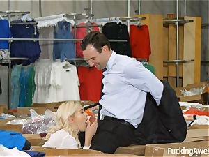 platinum-blonde teenager Summer Day gets drilled in the warehouse