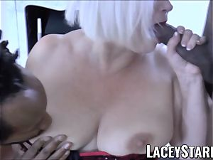LACEYSTARR - big black cock dual team works on wild grannie