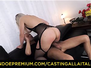 audition ALLA ITALIANA - huge-chested Italian blondie caboose porked