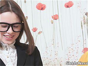 Nerdy teenager gets a huge blast on her glasses