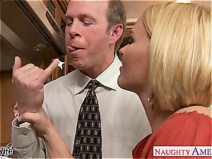 Krissy in the kitchen gargle and pummels until his trouser snake gushes