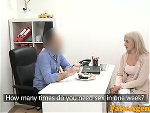 faux Agent warm blonde model luvs shaft over the desk