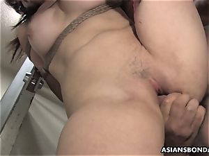 asian hotty gets romped with force behind the planks