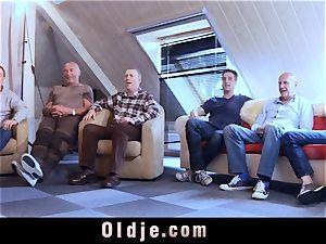 six oldman boning in group a wonderful super-hot blondie