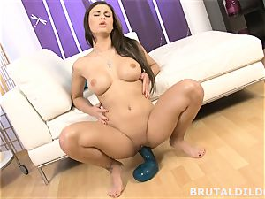 Billie starlet rides big fake penis before tearing up the machine
