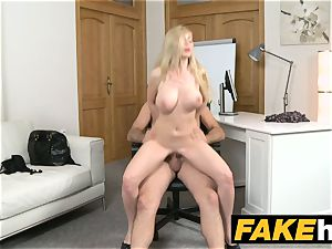 fake Agent super-fucking-hot blonde hefty titties Russian gets a facial