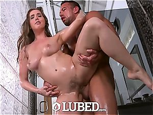 oiled Lena Paul injected with big shaft in the bathroom