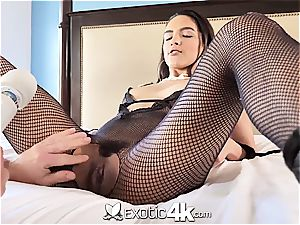 Latina Adrian Hush gets roped onto the couch in nothing but a fishnet
