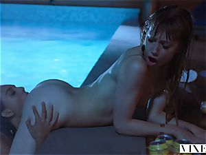 VIXEN Janice Griffith and Ivy Wolfe Sneak Into Backyard For Nighttime Pool fun