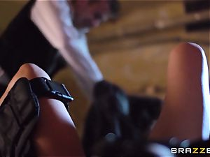 Madison Ivy is speared by a hefty bone